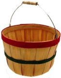 BT430RG Wooden Full Peck Basket - Wire Handle - Red & Green Bands - 11 x 7""