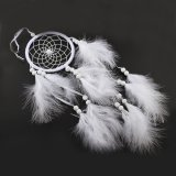CD732 Dream Catcher - Feathers, Velveteen Cord, Polyester Cord, & Glass Seed Beads - White