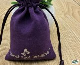 PKBAG-S-4065P Suede Velveteen Bags 4 wide x 6.5 inch Purple with Silver Cord PK/100