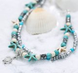 BC-G04017 Two Strand Women's Anklet - Turquoise