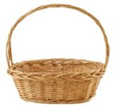 "CW2776-1 Oval Willow Basket - Natural - Large - 19 x 16 x 7"" With A  21"" Handle"