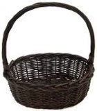 CW2776S Set/3 - Oval Willow Baskets - Brown Stained - Large, Medium, and Small
