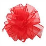 PK009-50-RER Sheer Spring Wired Ribbon - Red/Red