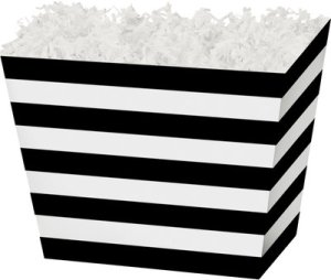 BoxCo-47405 Black & White Stripes Angled Basket Box - Large - 10 1/4 x 6 x 7 1/2 (order in 6's)