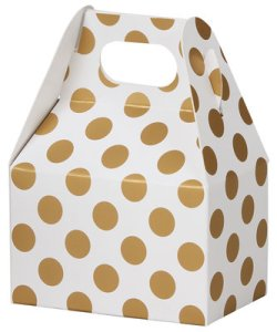 "BoxCo-39407 Gold Metallic Dots Mini Gable Box 4""x2.5""x2.5"" - (order in 6's)"