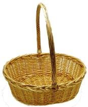 "CW2778-1 Oval Willow Basket - Natural - Large - 19 x 16 x 7"" With A 19"" Handle"