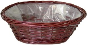 CW8314W Oval Willow Tray - With Hard Liner - No Handles - Wine - 14 x 12 x 5""